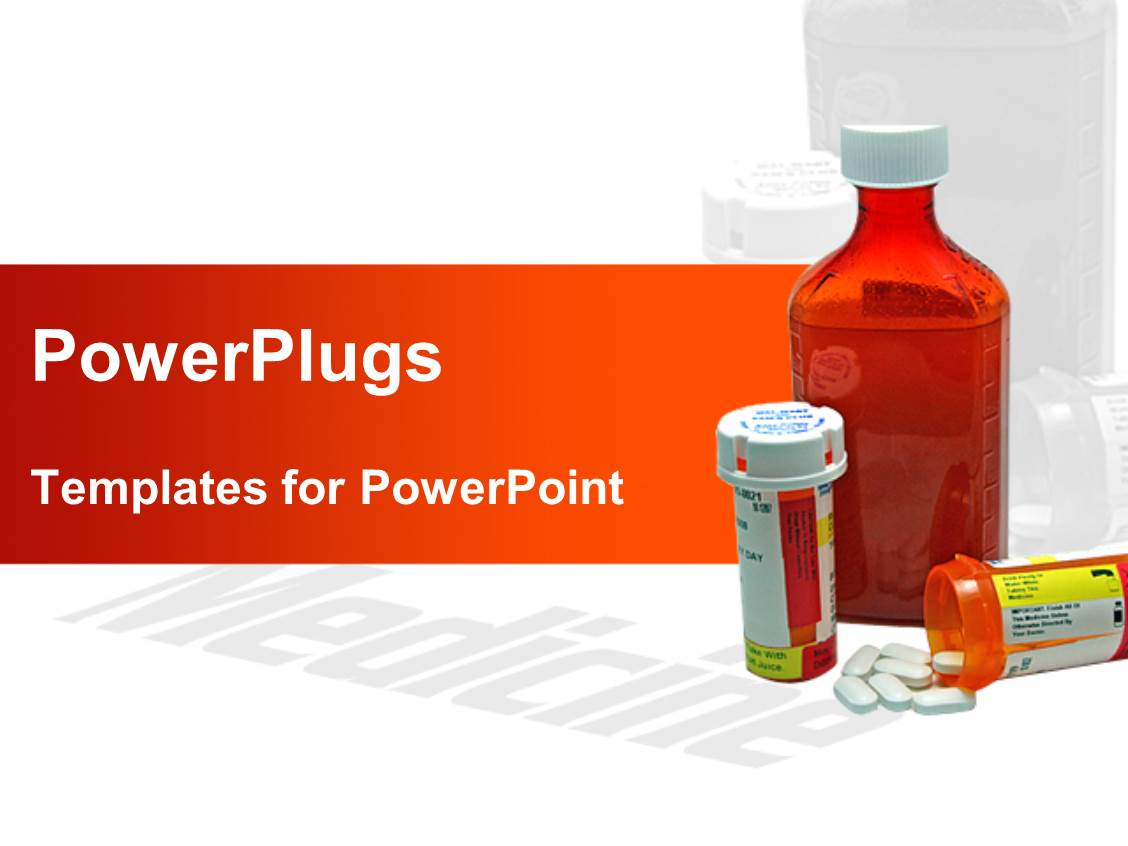 Powerpoint template three medicine bottles one for Power plugs powerpoint templates