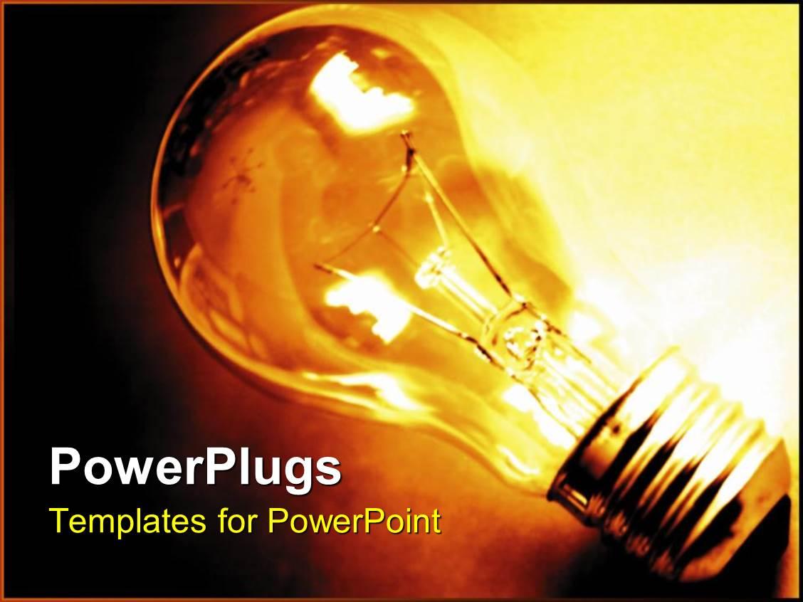Powerpoint Template Traditional Lightbulb Light Bulb Glowing Yellow Lightbulb On Dark