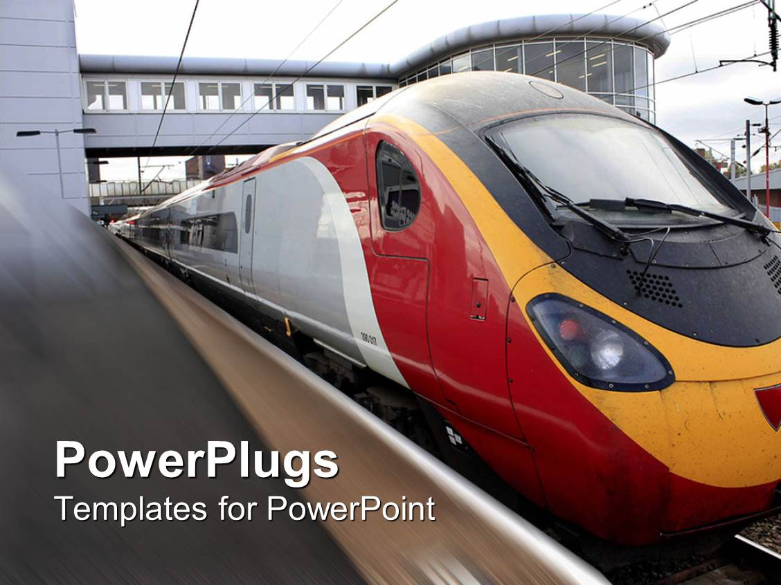 powerpoint template train going through a train station