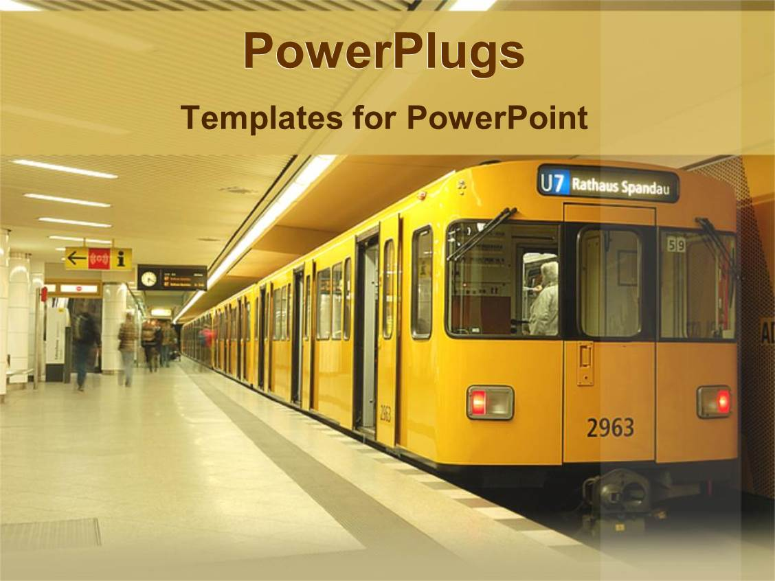 Metro powerpoint templates crystalgraphics beautiful ppt theme with a train station with a stopped train and a number of passengers template size toneelgroepblik Images