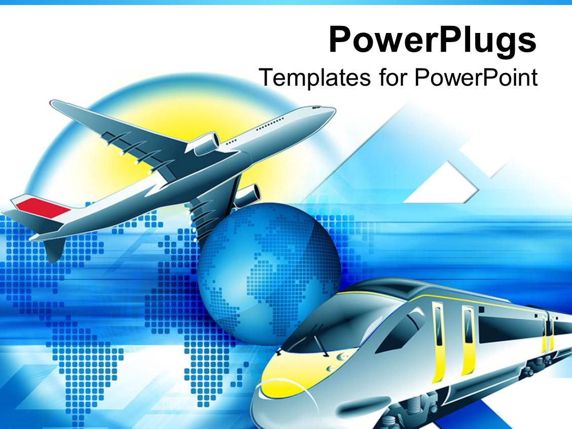 Powerpoint template travel theme with modern train and for Power plugs powerpoint templates