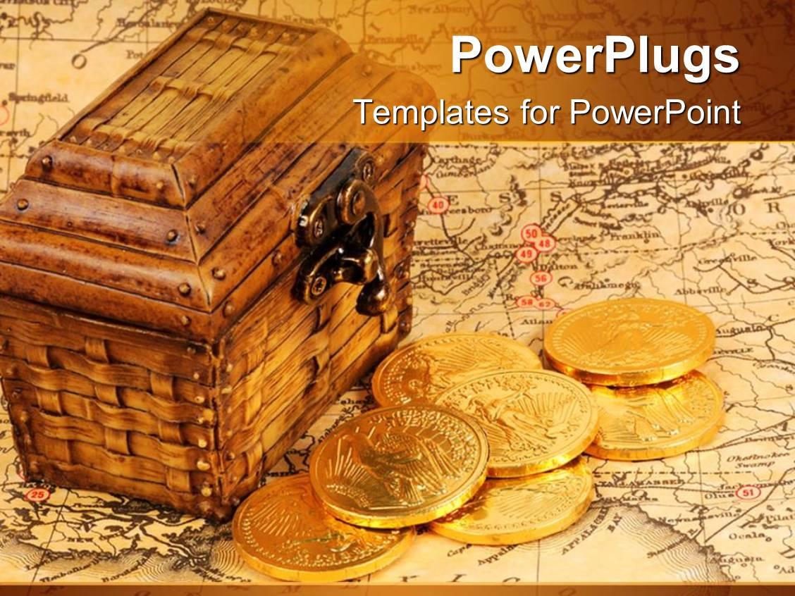 Pirate treasure powerpoint templates crystalgraphics presentation theme consisting of treasure box and treasure map with gold coins toneelgroepblik Choice Image
