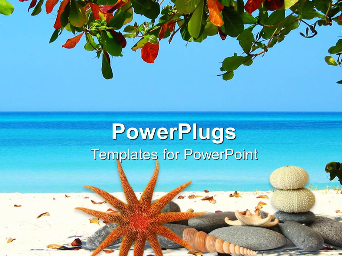 Powerpoint template tropical scenery with beach and sea tree powerpoint template displaying tropical scenery with beach and sea tree leaves at the top and toneelgroepblik Choice Image