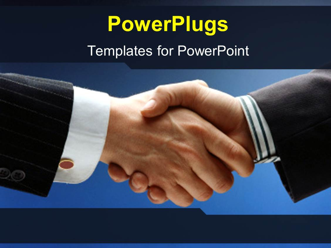 Powerpoint template two adult shaking hands on a blue for Power plugs powerpoint templates