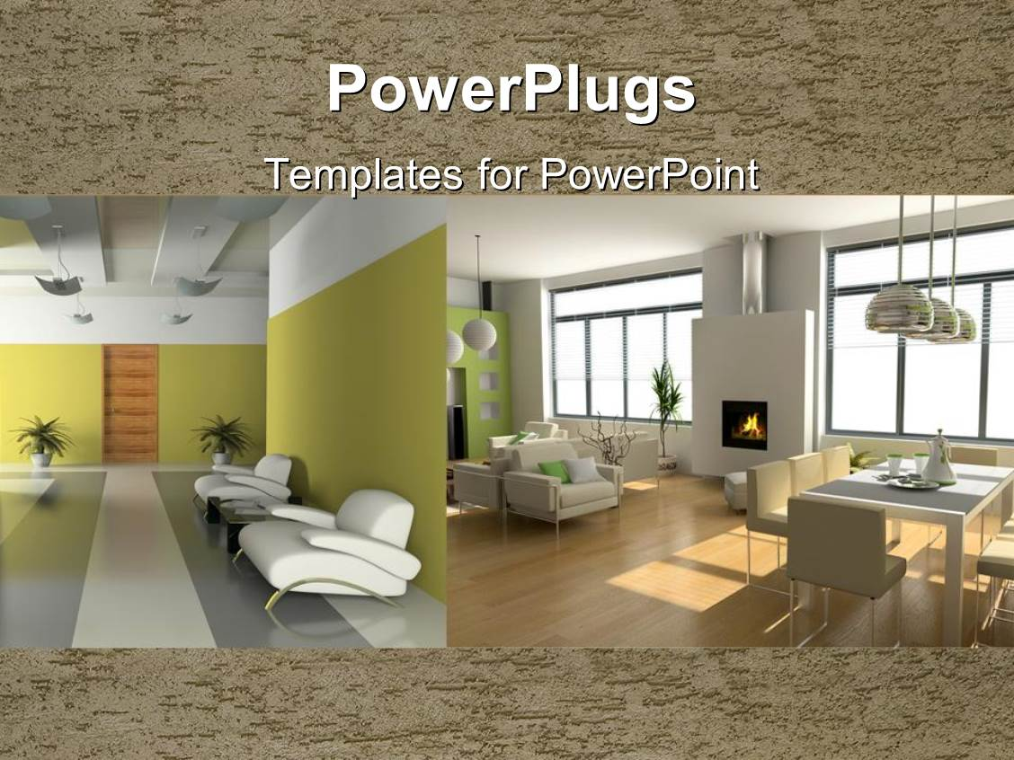 PowerPoint Template two depictions of interior design with