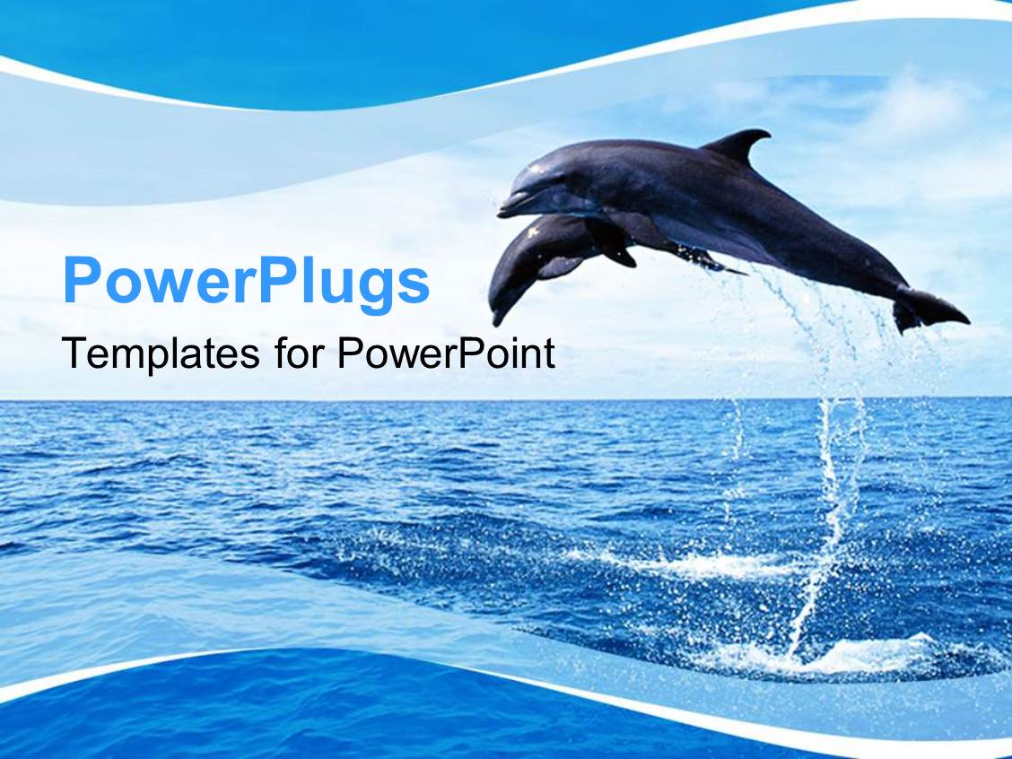PowerPoint Template: a dolphin jumping in the ocean with mountains ...