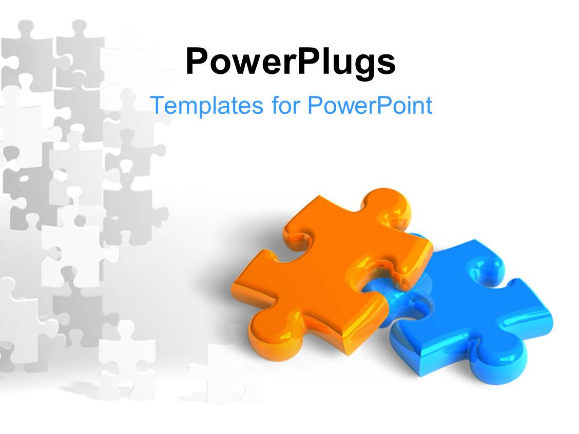 PowerPoint Template: Teamwork with man and woman putting blue ...