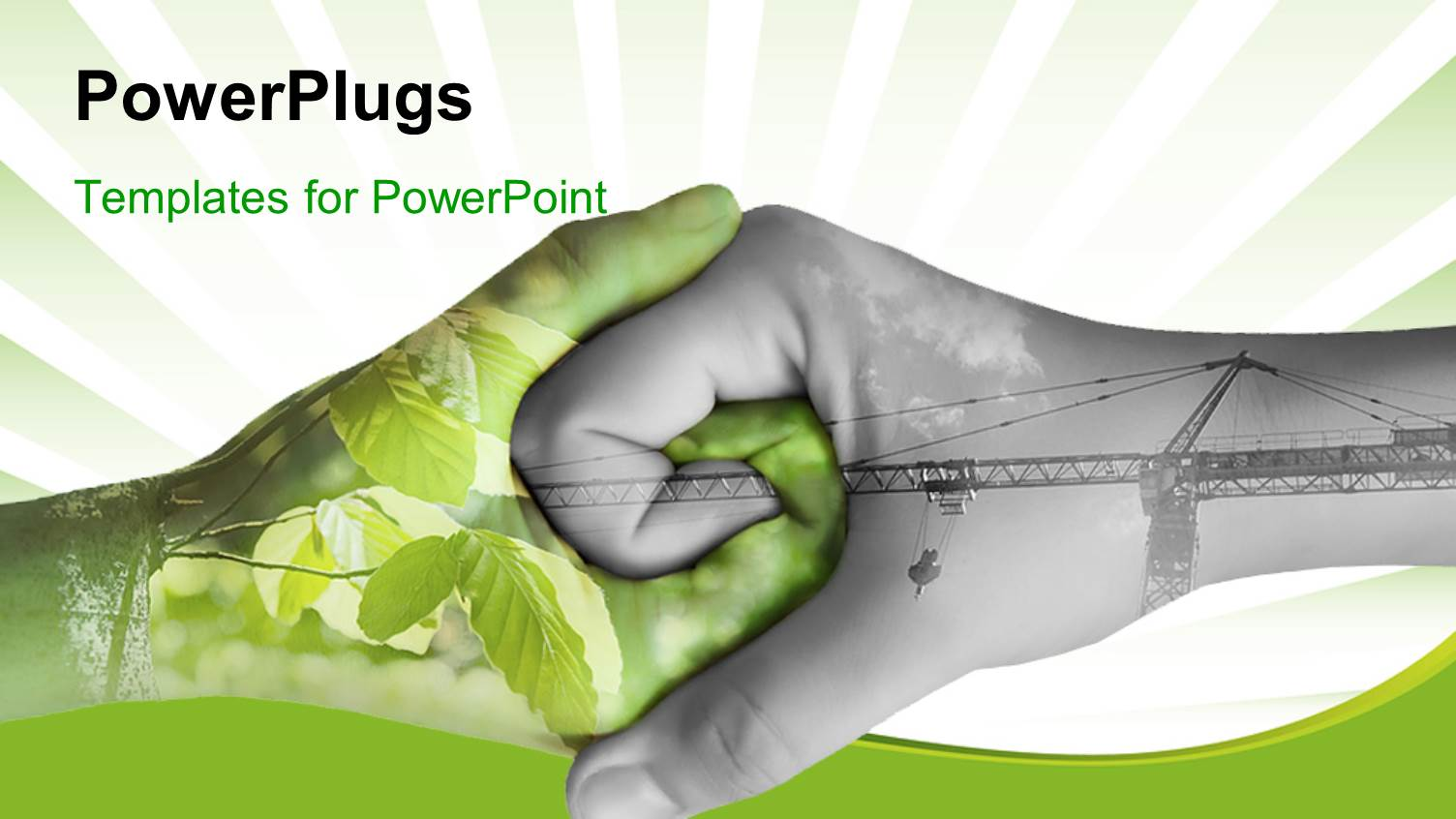 powerpoint template two hands depicting nature and