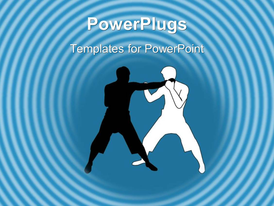 Martial arts powerpoint templates crystalgraphics powerplugs powerpoint template with two men doing martial arts in light blue background toneelgroepblik Image collections