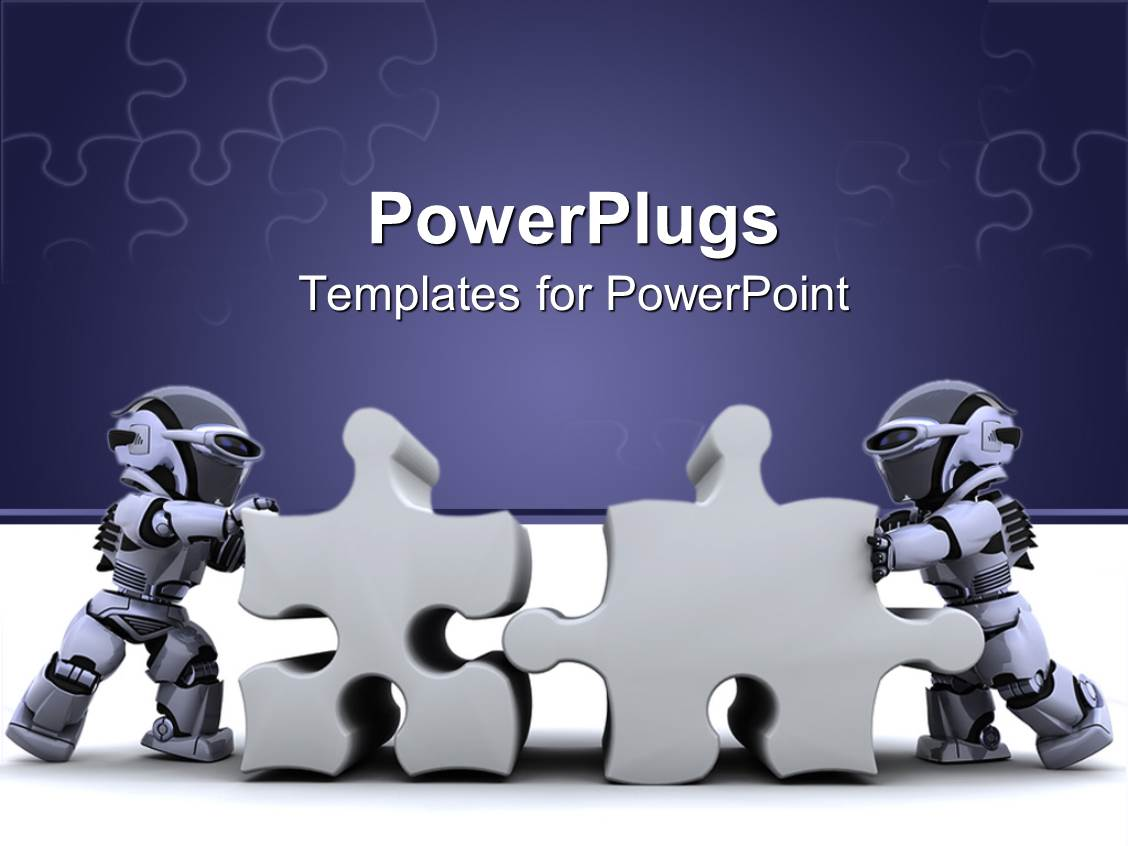 Powerpoint template two robots holding jigsaw puzzle pieces on powerpoint template displaying two robots holding jigsaw puzzle pieces on jigsaw puzzle purple and white background toneelgroepblik Images