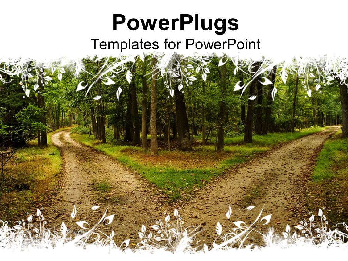 powerpoint template  two terrain roads separated in
