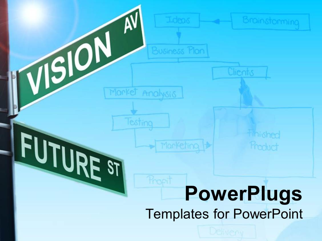 PowerPoint Template Displaying Two Way Street Sign Vision and Future Planning Business Model