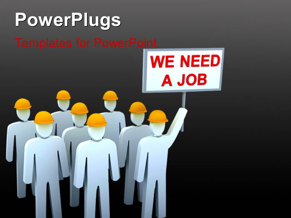 Unemployment powerpoint templates crystalgraphics amazing slide deck consisting of unemployment depiction with team of people carrying placards in protest toneelgroepblik Image collections