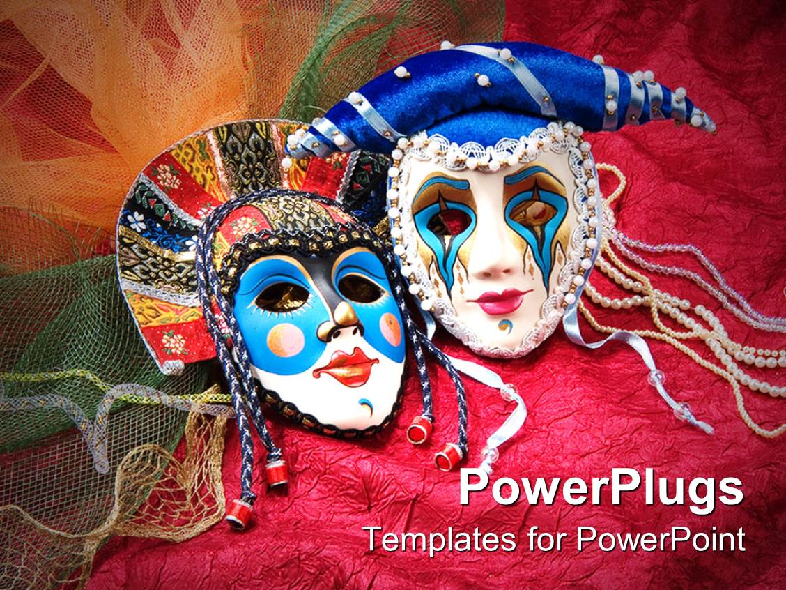 Powerpoint template unique beaded carnival masks on maroon fabric powerpoint template displaying unique beaded carnival masks on maroon fabric toneelgroepblik Images