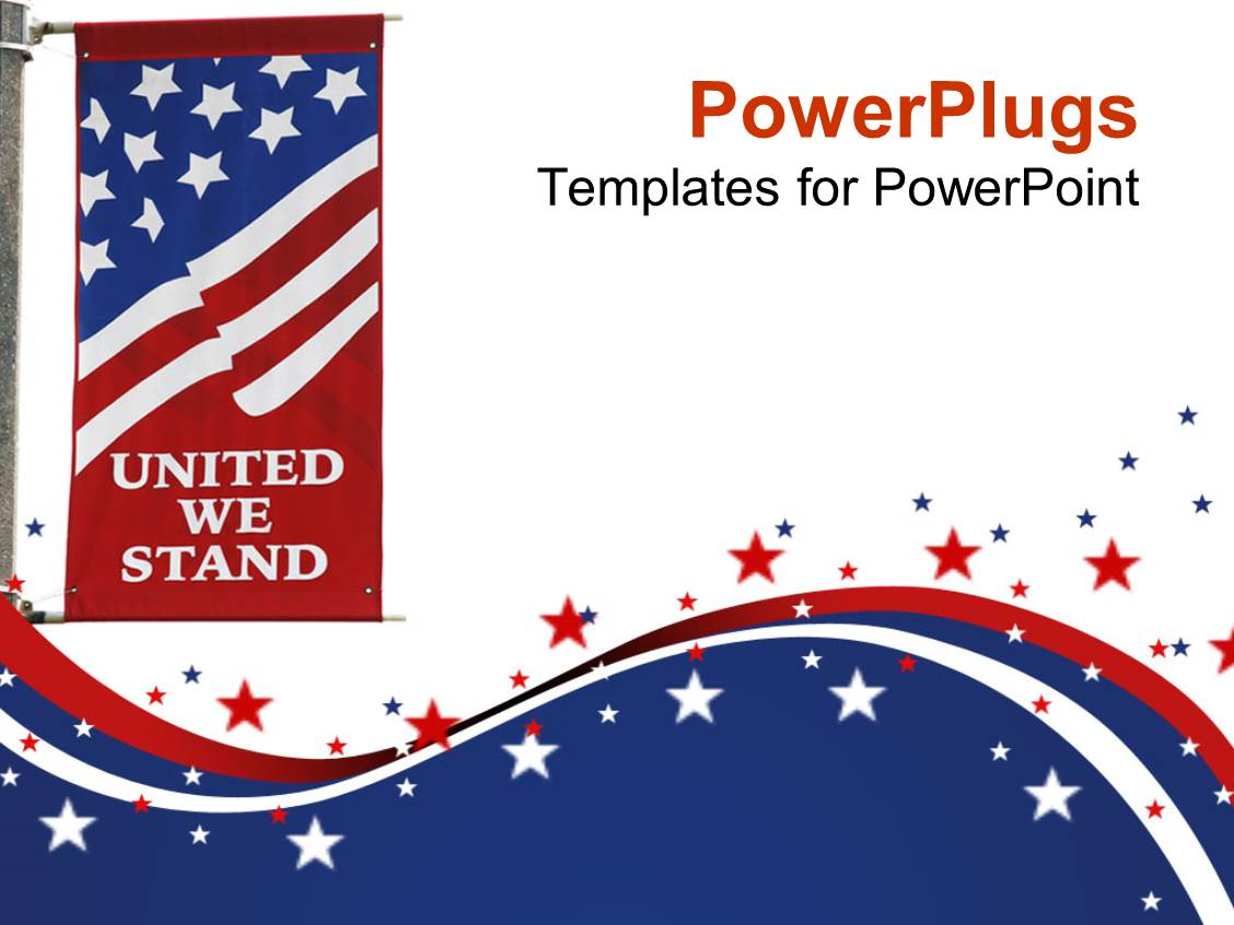 powerpoint template united states of america flag on pole with united we stand motto printed on. Black Bedroom Furniture Sets. Home Design Ideas