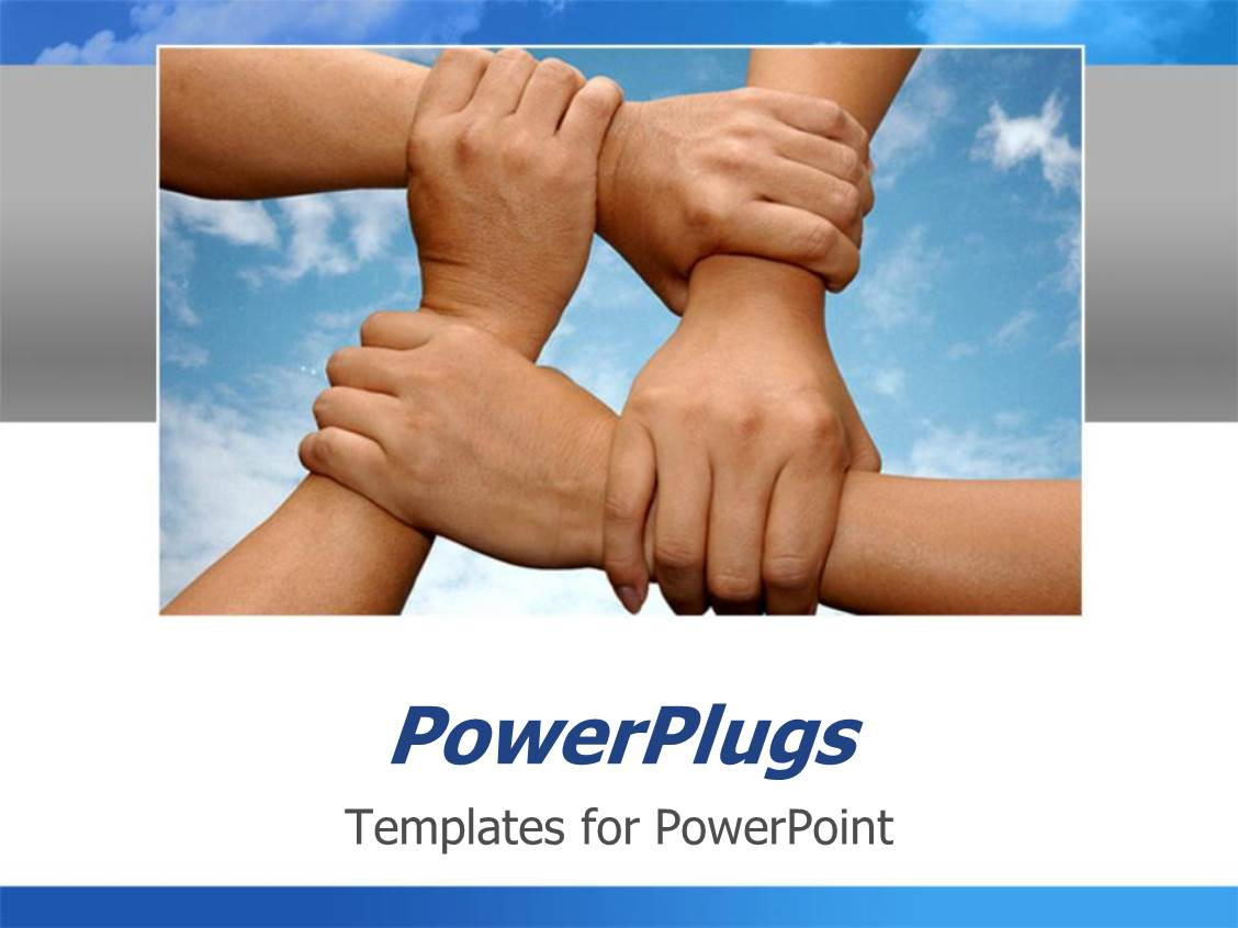 Powerplugs Powerpoint Template With Various Hands Holding Each Other To Show Solidarity With Clouds In