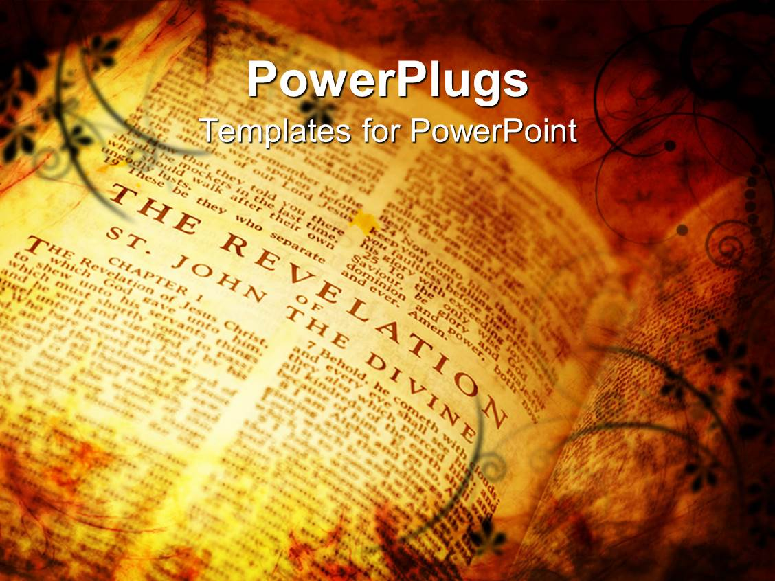 Bible powerpoint templates crystalgraphics beautiful template enhanced with vintage style bible showing the book of revelations toneelgroepblik Images