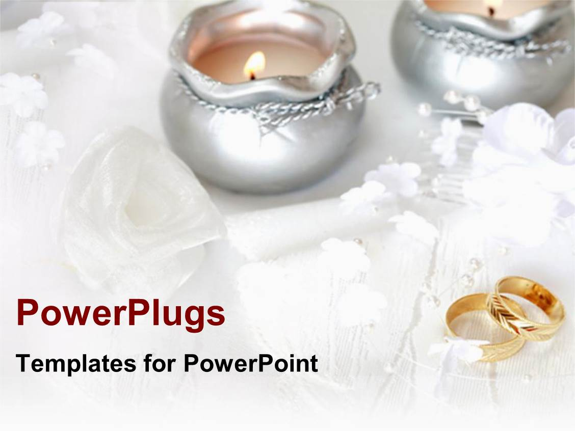 Powerpoint template white flower arrangement weddings floral ppt enhanced with wedding theme with two golden wedding rings two silver lit candles white toneelgroepblik Images