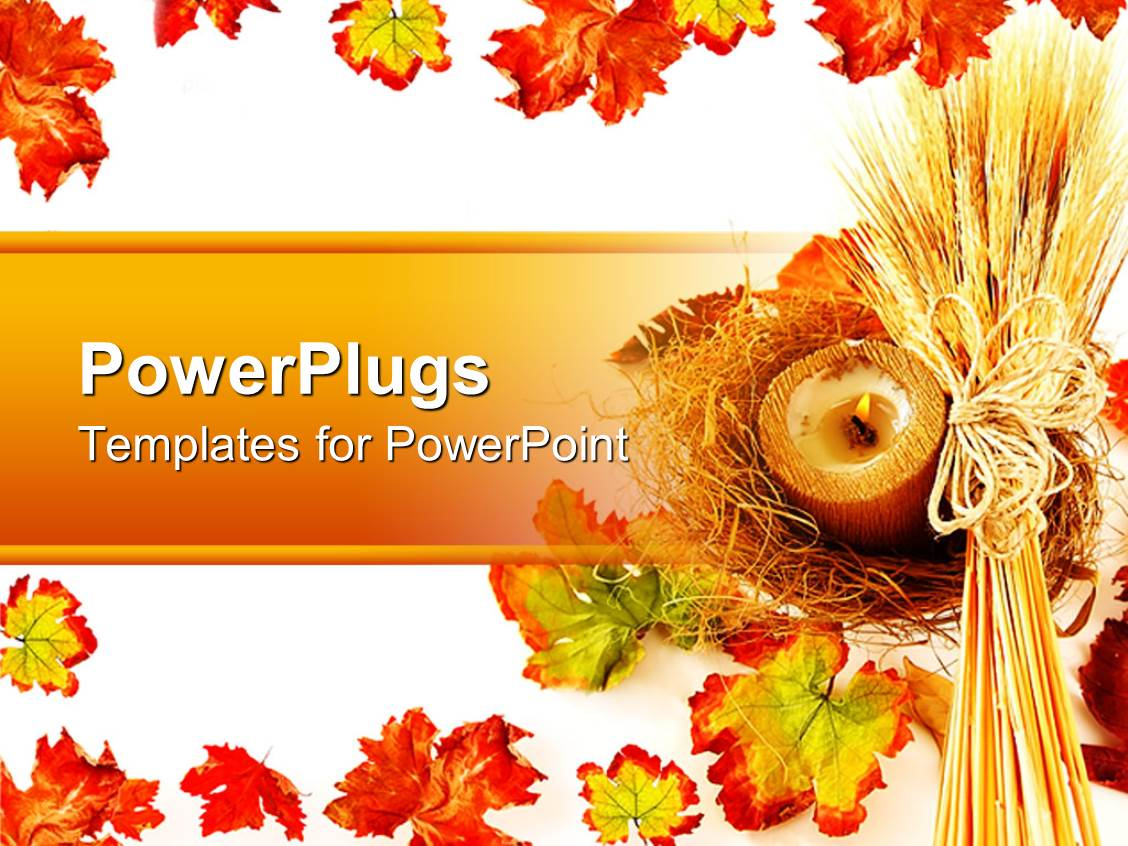 powerpoint template orange pumpkins and leaves for autumn