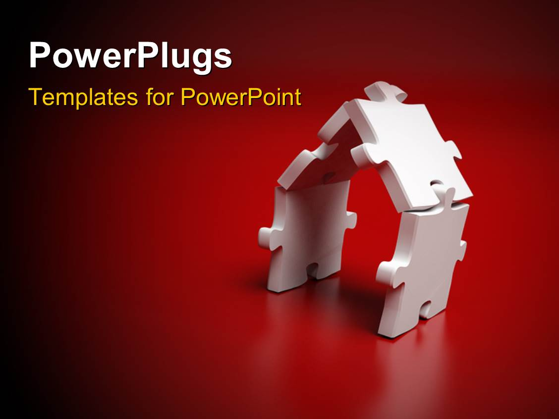 Powerpoint template two green animated human characters building powerplugs powerpoint template with white jigsaw puzzle depicting a house with dark red color toneelgroepblik Gallery
