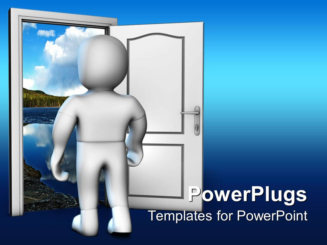PowerPoint Template: White person opening door to look into ...