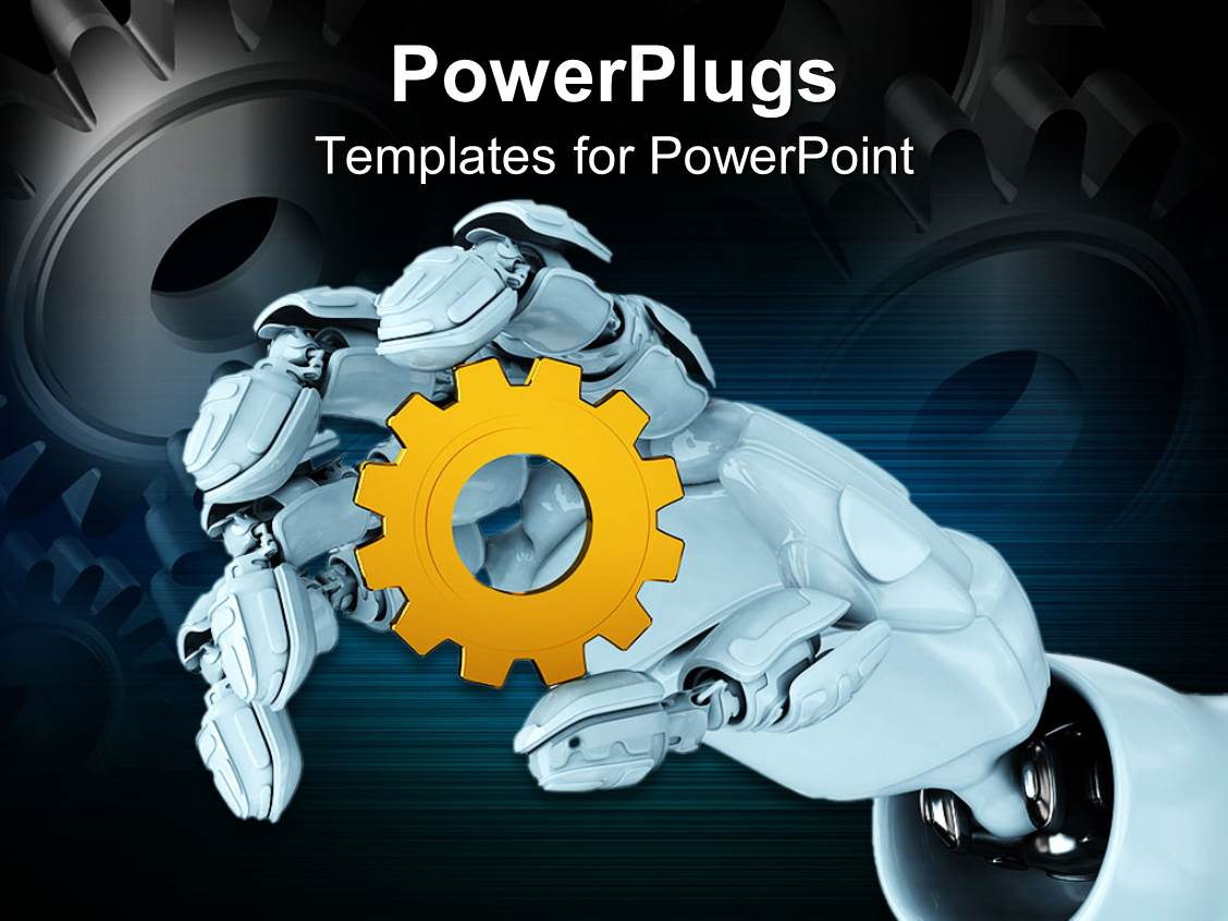 Powerpoint template white robot hand holding yellow spur gear 29189 powerpoint template displaying white robot hand holding yellow spur gear toneelgroepblik Images
