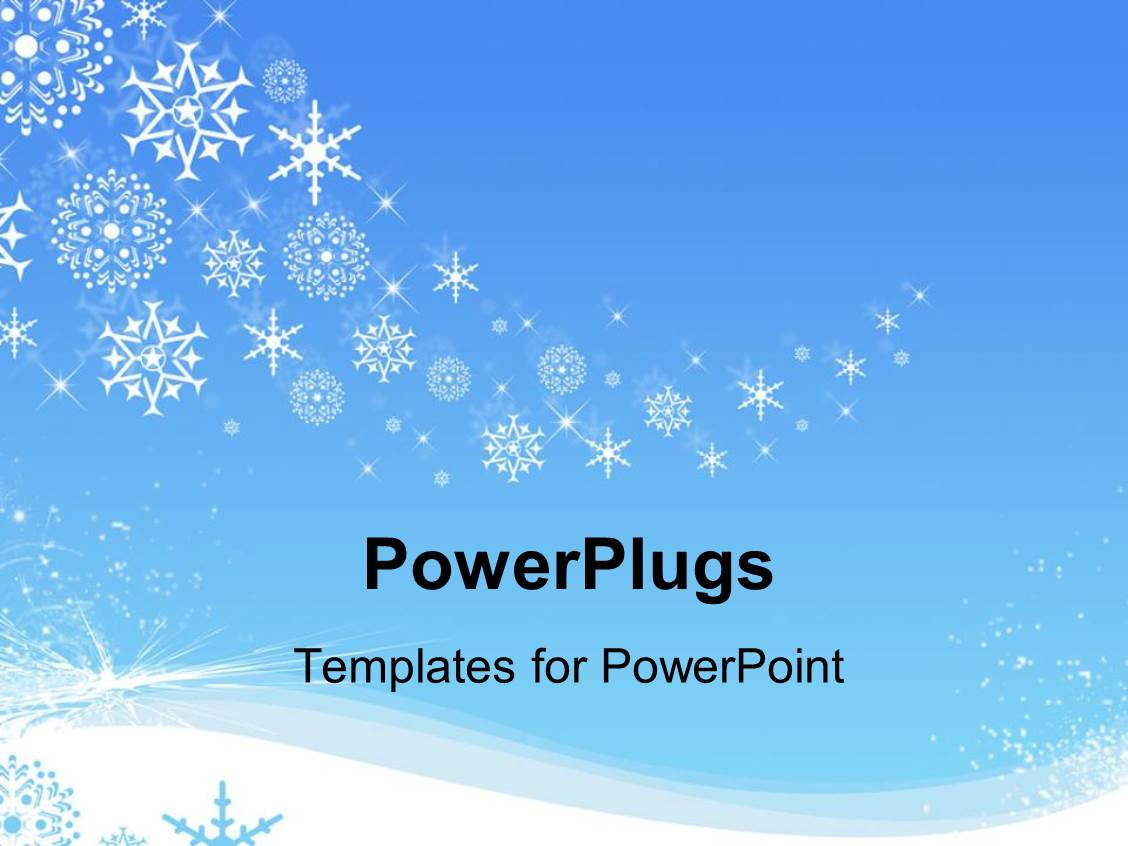 PowerPoint Template: white snowflakes snowing in winter on a blue ...