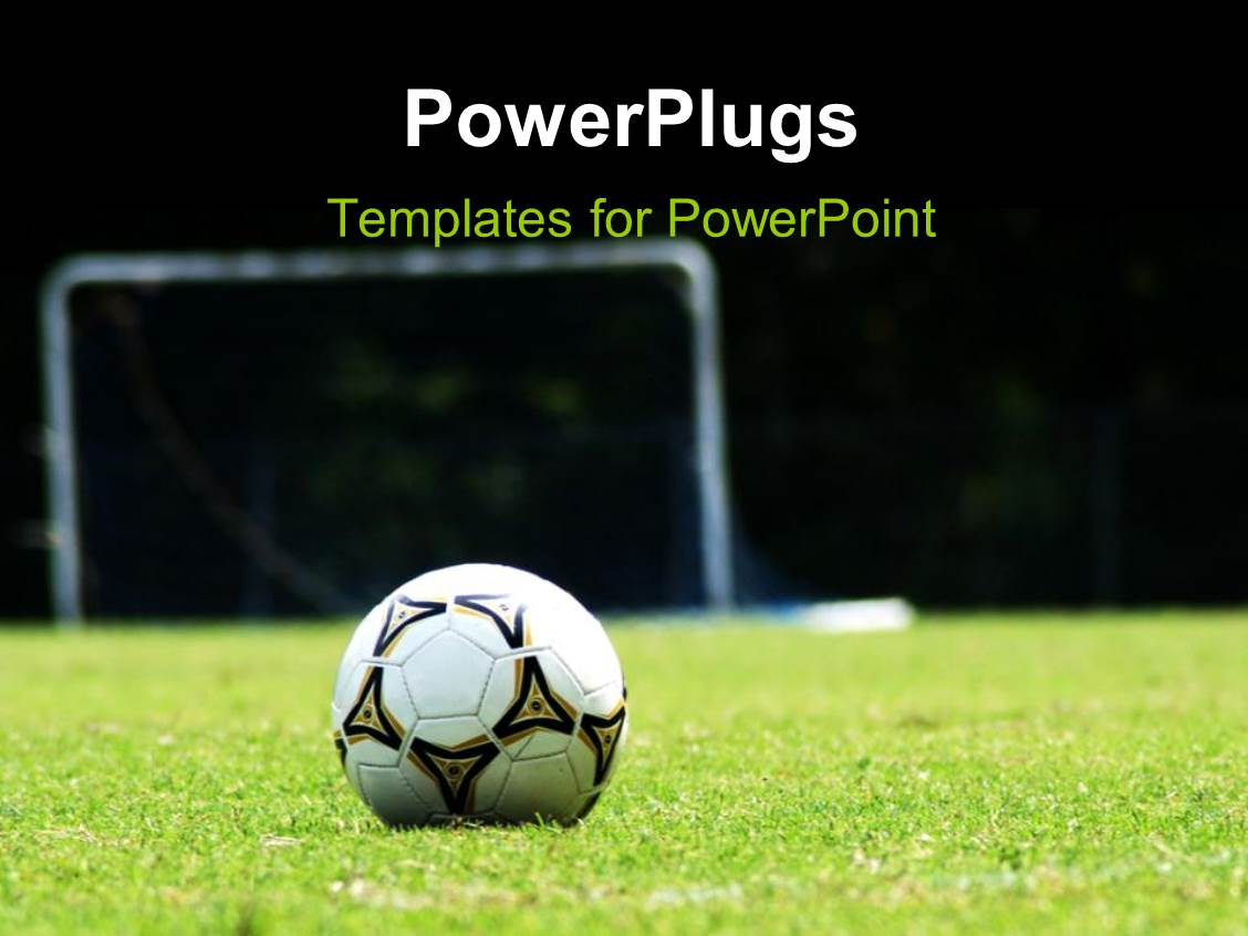 powerpoint template white soccer ball on green grass