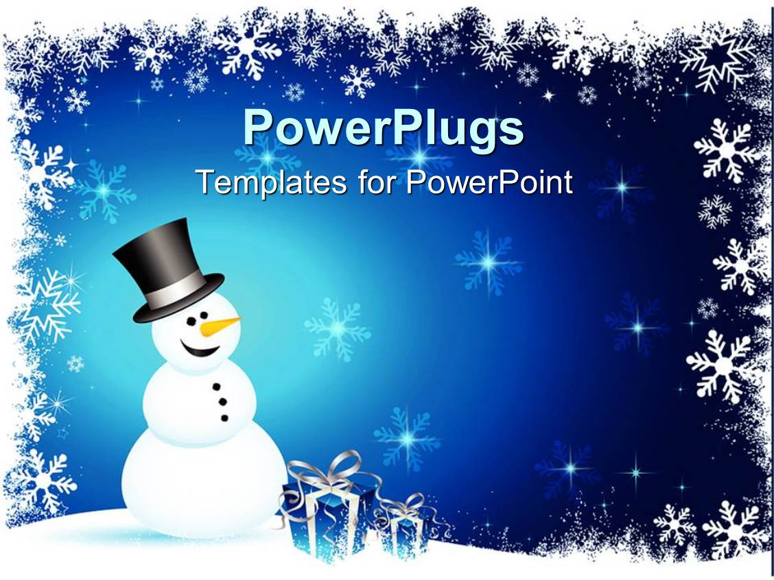 powerpoint template winter theme with happy smiling snowman and blue gift boxes with silver. Black Bedroom Furniture Sets. Home Design Ideas