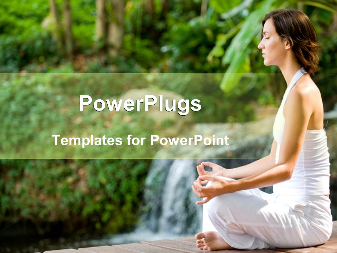 powerpoint template: woman in white clothes doing yoga, woman, Presentation templates