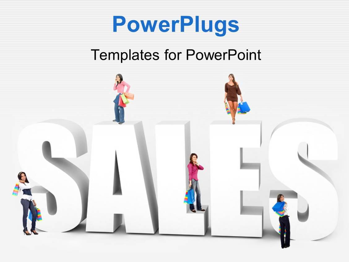 powerpoint template women with shopping items stand on d word, Powerpoint