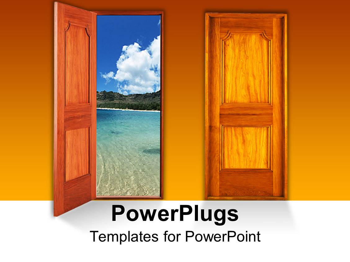Open window beach - Powerpoint Template Displaying Wooden Open And Close Door To Beach And Seaside