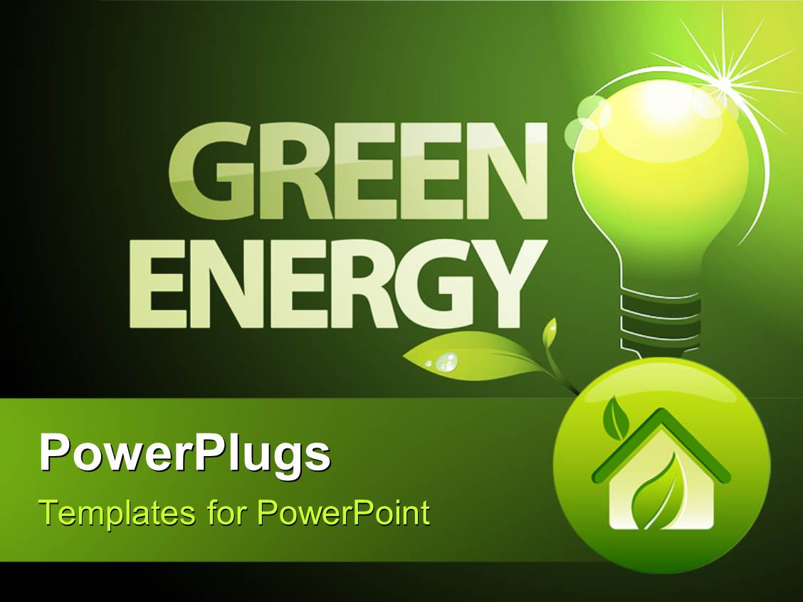 Powerpoint template green bulb with save green energy written in i love this ppt having word green energy with environment friendly light bulb and foliage toneelgroepblik Gallery