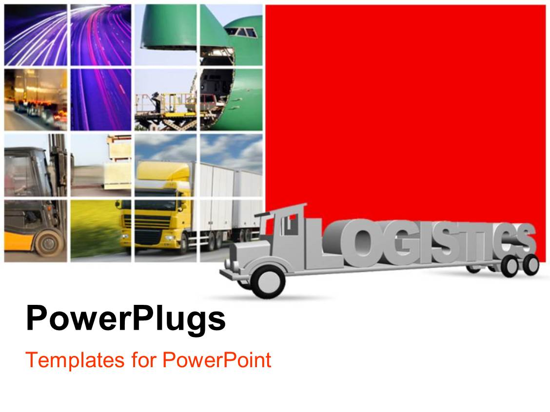 powerpoint template the word logistics on an old grey