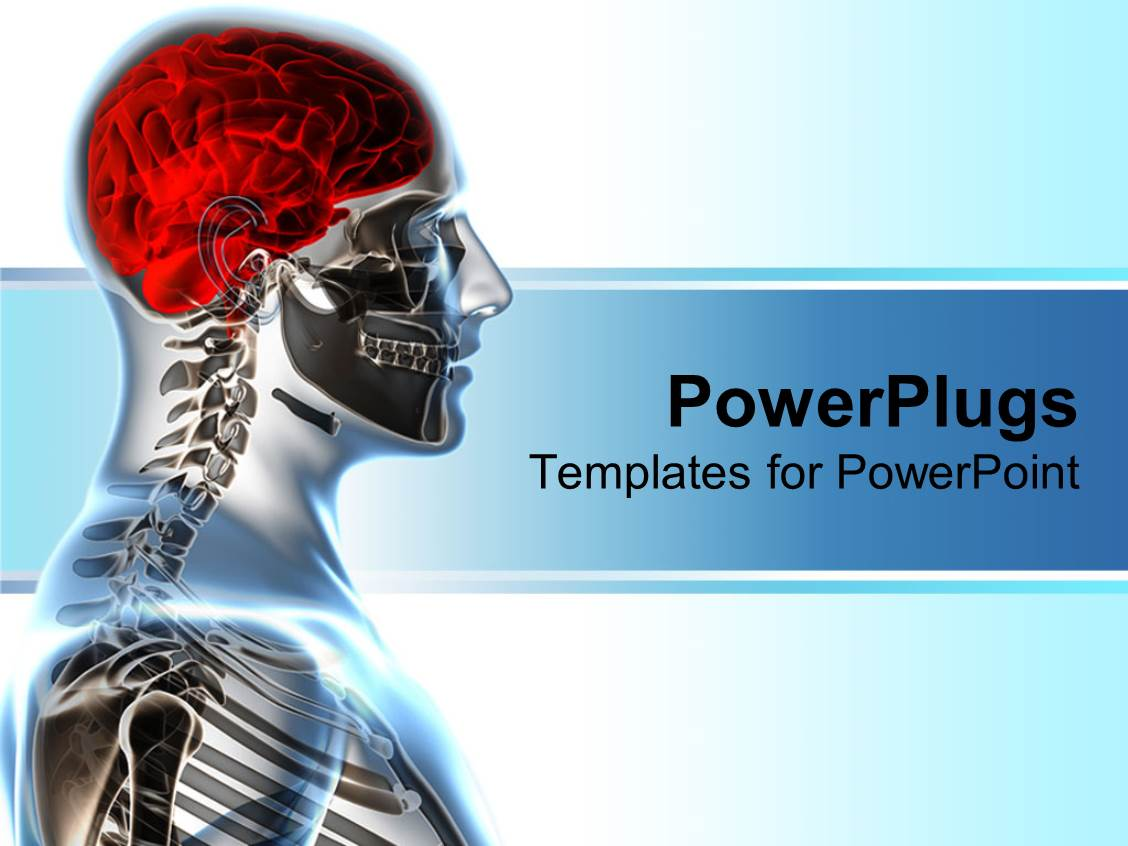 Xray powerpoint templates crystalgraphics template with x ray showing human anatomy and red brain on bright background toneelgroepblik Choice Image