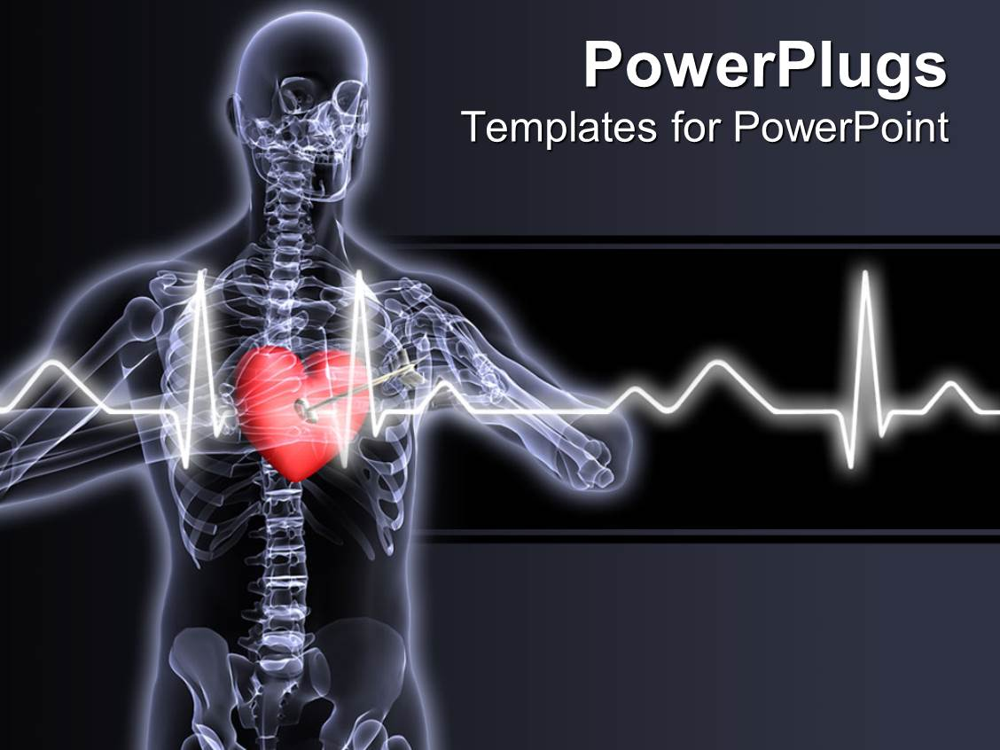 Powerpoint template x ray vision of man with red heart and pulses powerpoint template displaying x ray vision of man with red heart and pulses showing toneelgroepblik Choice Image