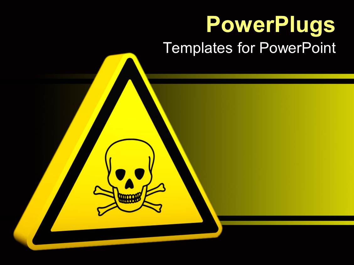 Powerpoint template yellow hazard sign with skeleton 9013 for Sign templates free downloads
