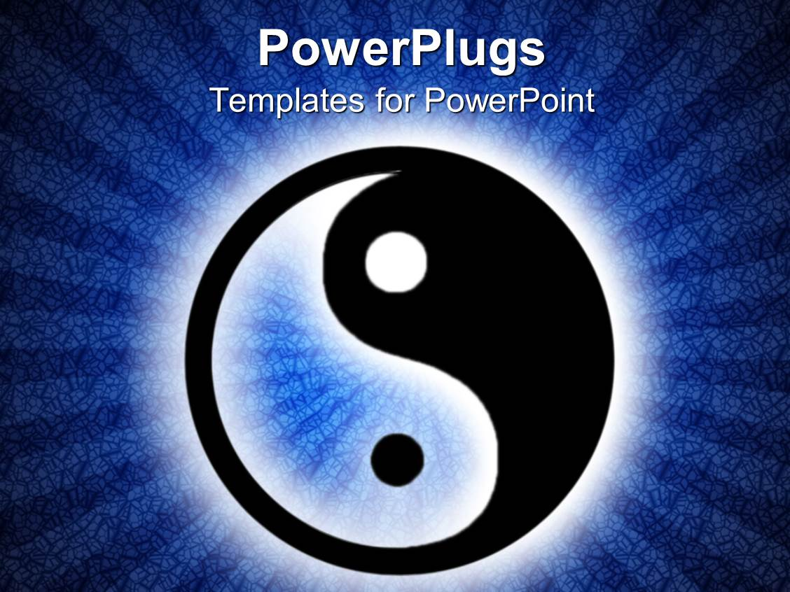 Powerpoint template a beautiful depiction of a ying yang symbol powerplugs powerpoint template with yin and yang symbol in illuminated dark blue background toneelgroepblik Gallery
