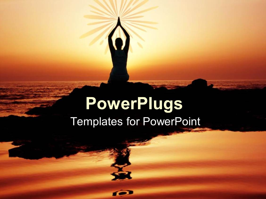 Yoga powerpoint templates crystalgraphics slide set having yoga performer at sunset silhouette of woman doing yoga on seashore at template size toneelgroepblik Images