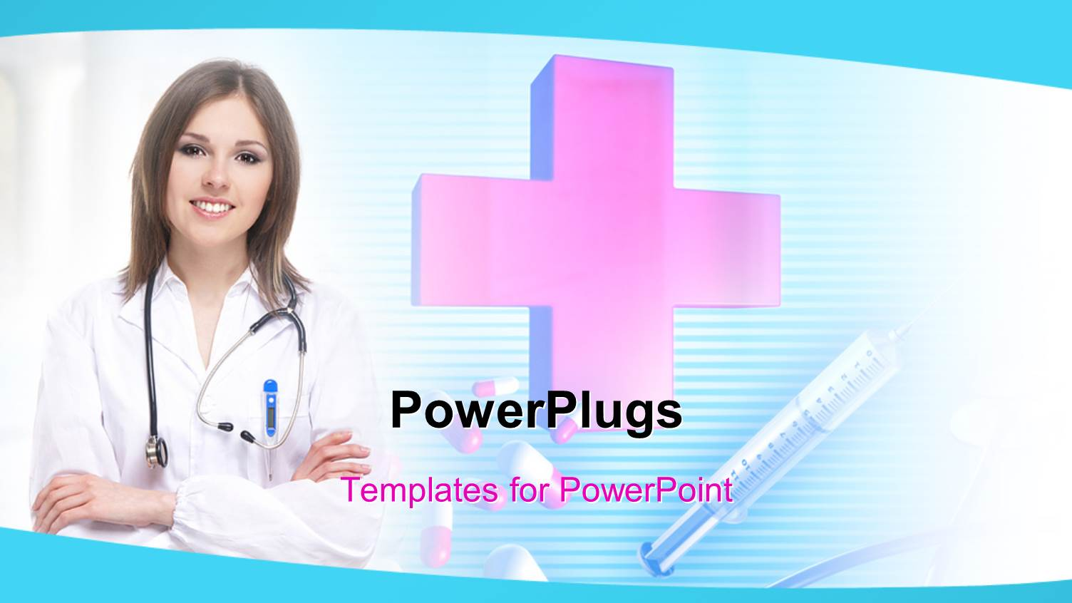 Powerpoint template a pretty female nurse with a big red cross powerpoint template displaying a pretty female nurse with a big red cross toneelgroepblik Images