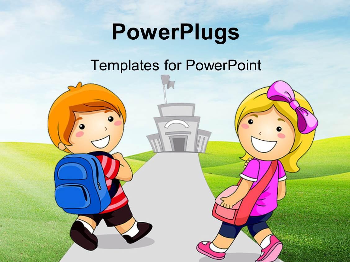 powerpoint template: kids in elementary school learning the, Modern powerpoint