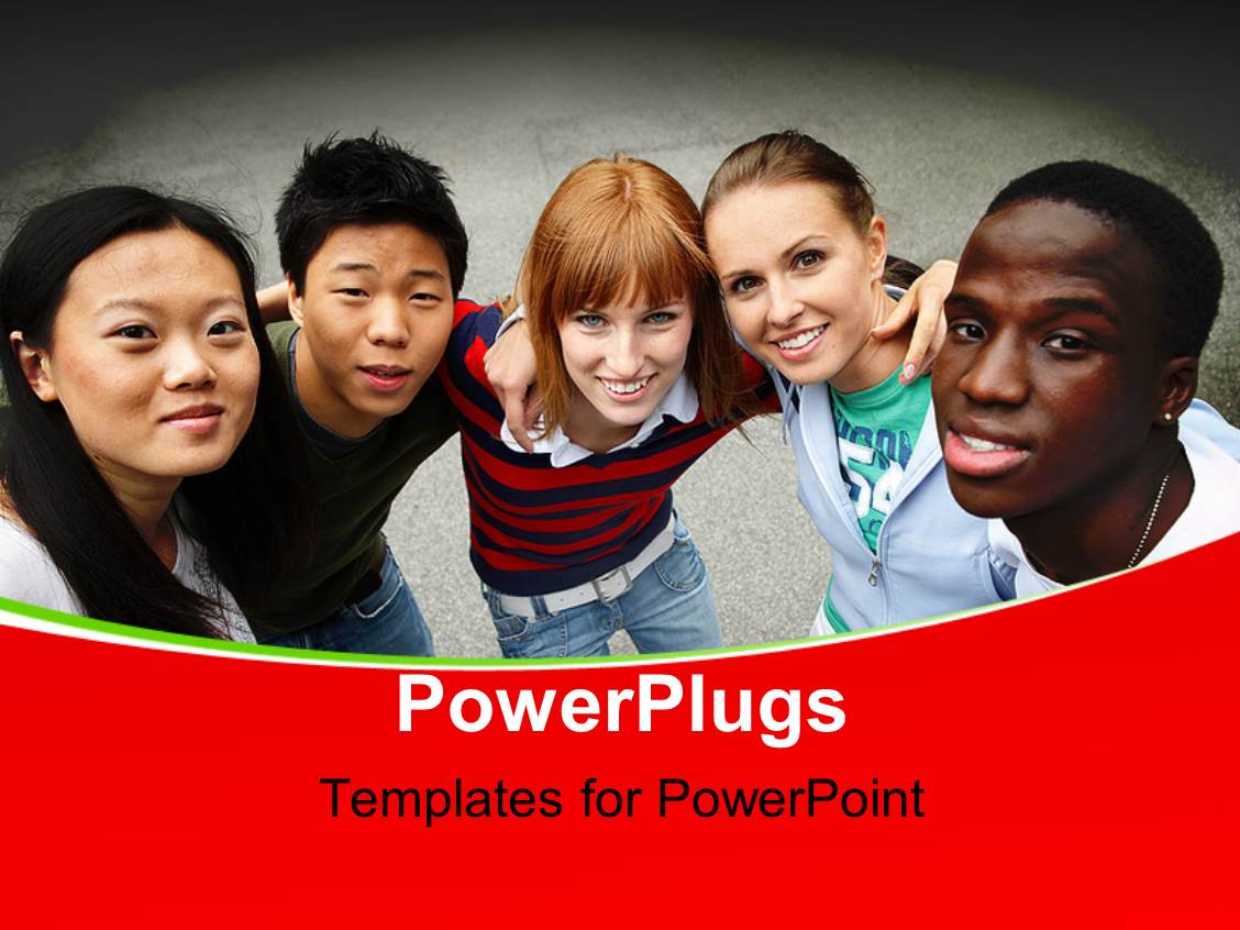 Multi cultural powerpoint templates crystalgraphics powerplugs powerpoint template with young people of different ethnic groups on the schoolyard toneelgroepblik Images