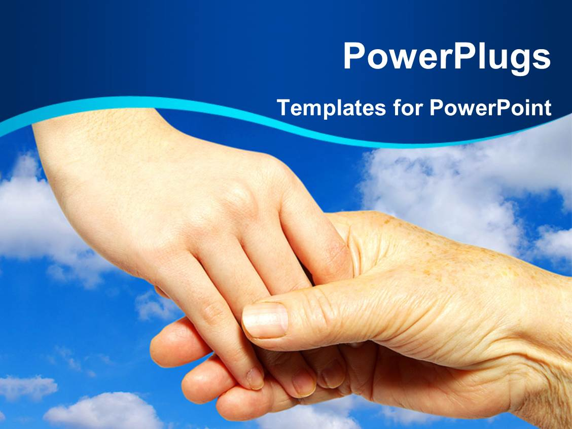 Powerpoint template youth holding hand and helping some elderly powerpoint template displaying youth holding hand and helping some elderly people with sky in background toneelgroepblik Choice Image
